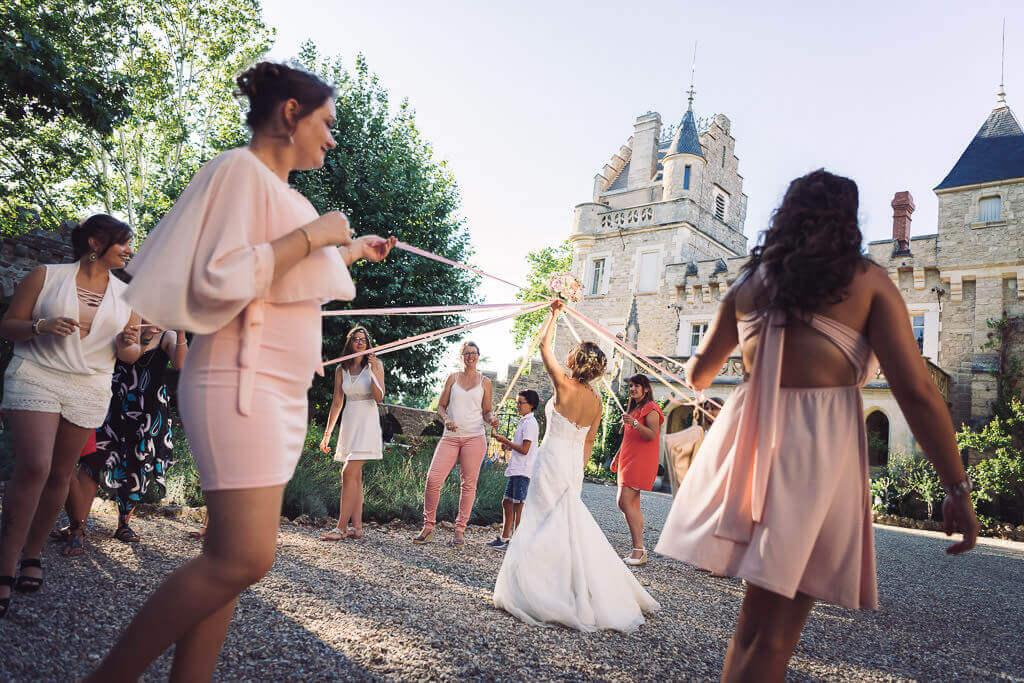 lancer du bouquet mariage original ruban studio graou