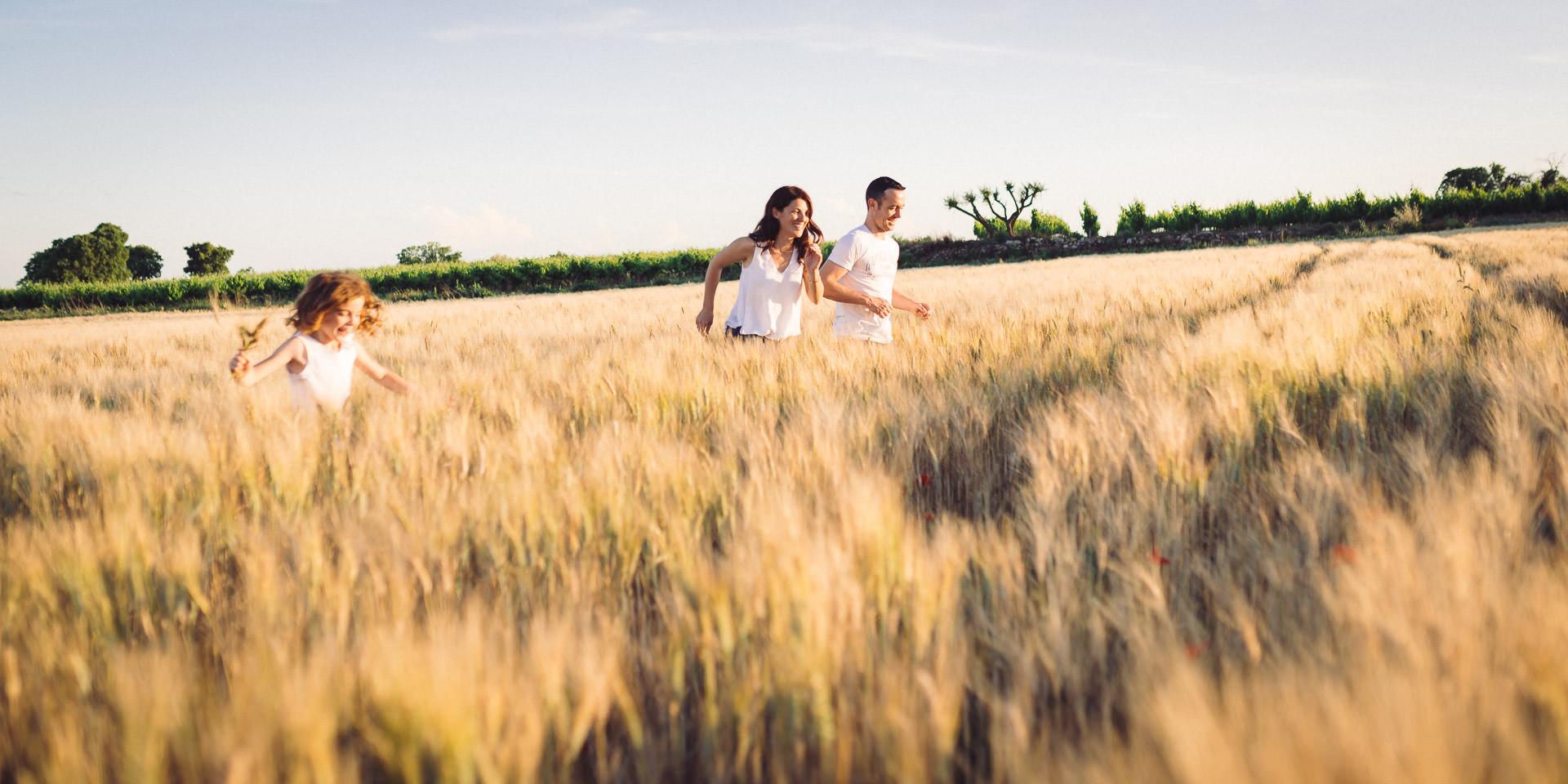 famille court champ de blé coucher de soleil seance photo famille cadeau studio graou