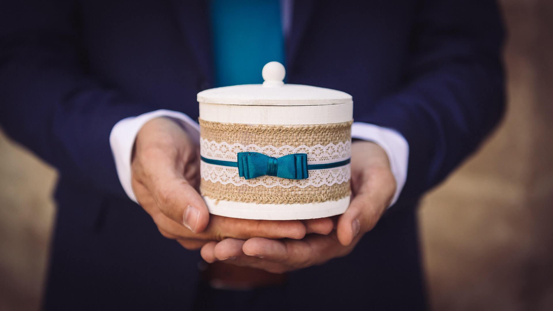 coffret boite ronde ruban bleu alliance mariage studio graou